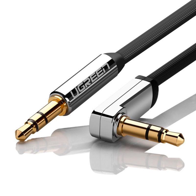 Аудио кабель AUX 3.5mm jack Ugreen с угловым L-образным штекером AV119 10596 (Черный с серебром, 0.5м)