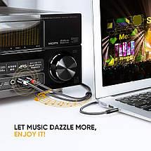 Аудио кабель 2 RCA 3.5 Jack AUX Hi-Fi Ugreen AV116 (Чёрным с серебристым, 2м), фото 2