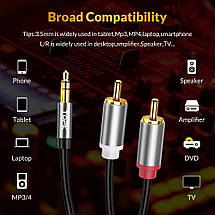 Аудио кабель 2 RCA 3.5 Jack AUX Hi-Fi Topk L14 (Чёрный, 1м), фото 3