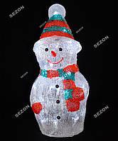 Новогоднее украшение светодиодный снеговик 50см из акрила белый
