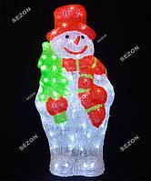 Новогоднее украшение светодиодный снеговик 60см из акрила белый