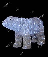 Новогоднее украшение светодиодный медведь 60х35см из акрила белый