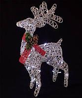 Новогоднее украшение светодиодный олень 50см серебряный, белый