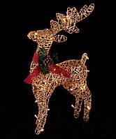 Новогоднее украшение светодиодный олень 30см теплый белый, золотистый