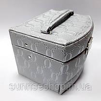 Шкатулка для украшений серебро кожзаменитель купить оптом, фото 3