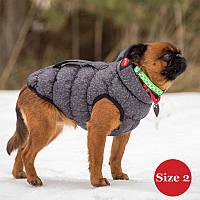 Жилет для собаки утепленный DIEGO sport  2/2 серый, размер 2
