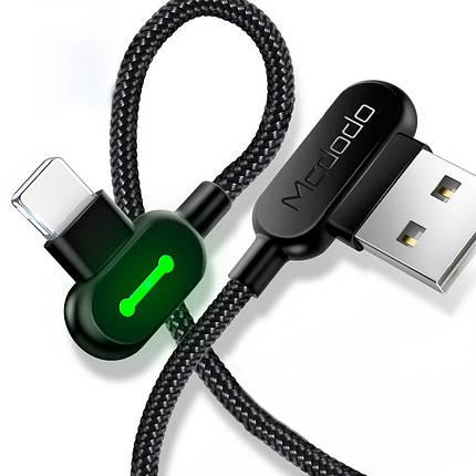 Кабель Lightning Mcdodo с двусторонним USB разъемом LED индикацией для зарядки и передачи данных (Черный,, фото 2