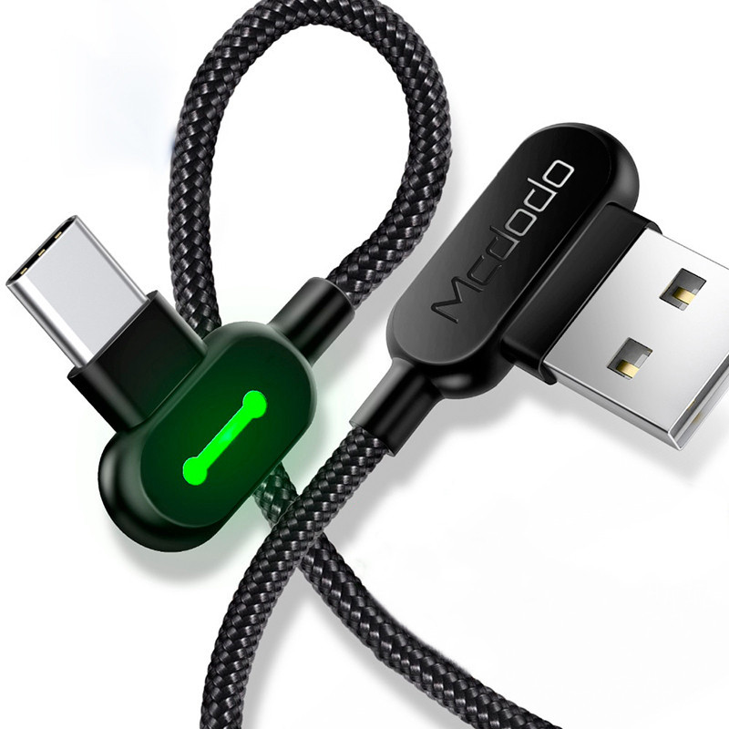 Кабель USB Type-C Mcdodo с двусторонним USB разъемом LED индикацией для зарядки и передачи данных (Черный,