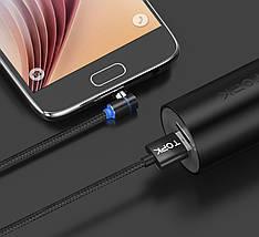 Магнитный кабель Micro USB Topk для зарядки телефона (Черный, 1м), фото 3