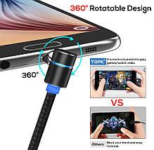 Магнитный кабель Micro USB Topk для зарядки телефона (Черный, 1м), фото 2