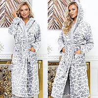 Женский халат длинный с капюшоном и сапожками норма и батал новинка 2020, фото 1