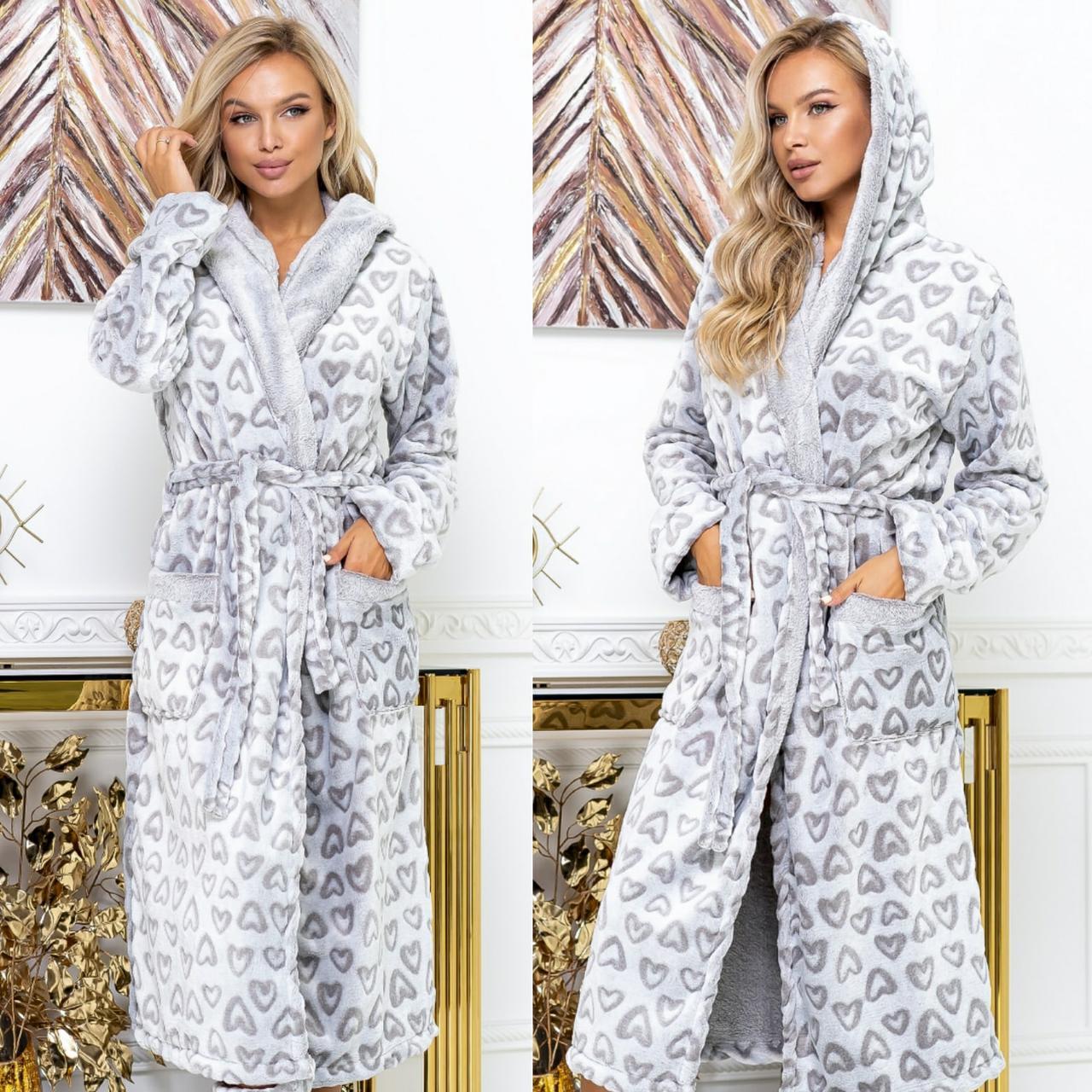 Женский халат длинный с капюшоном и сапожками норма и батал новинка 2020