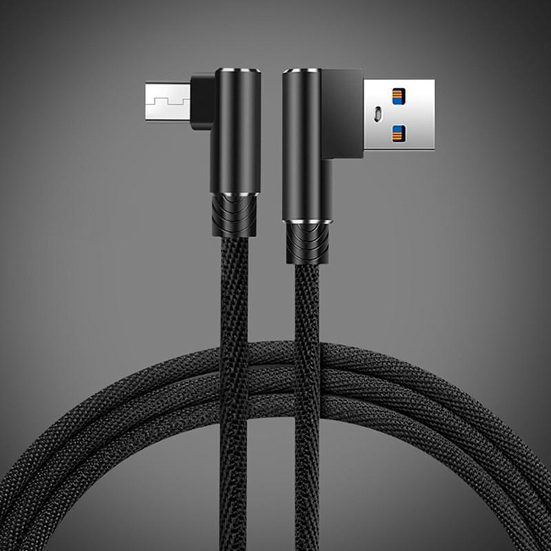 Кабель Micro USB Suntaiho с угловыми разъемами для зарядки и передачи данных (Черный, 2м)