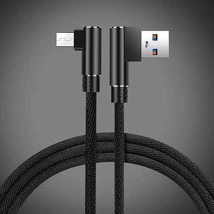 Кабель Micro USB Suntaiho с угловыми разъемами для зарядки и передачи данных (Черный, 2м), фото 2