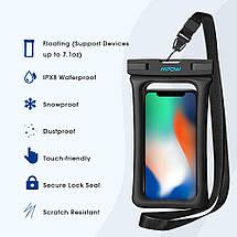 Чехол водонепроницаемый Mpow Floating Waterproof Case для мобильных телефонов или документов (Черный), фото 3
