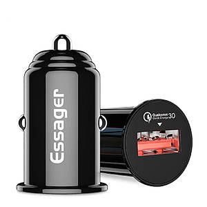 Автомобильное зарядное устройство Essager QC 3.0 USB Car Charger 3A (Ченое, один USB-порт)