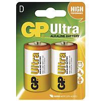 Батарейки GP D LR20 Ultra Alcaline 1.5V 2 шт 34442, КОД: 1379076