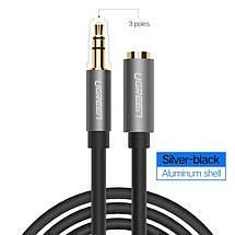 AUX 3.5mm удлинитель Ugreen AV118 аудио кабель (Чёрный с серебристым, 0.5м), фото 3