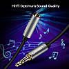 AUX 3.5mm удлинитель Ugreen AV118 аудио кабель (Чёрный с серебристым, 0.5м), фото 4