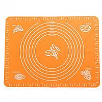 Силиконовый антипригарный коврик для выпечки и раскатки теста 50x40 см VOLRO Оранжевый vol-331, КОД: 1717495