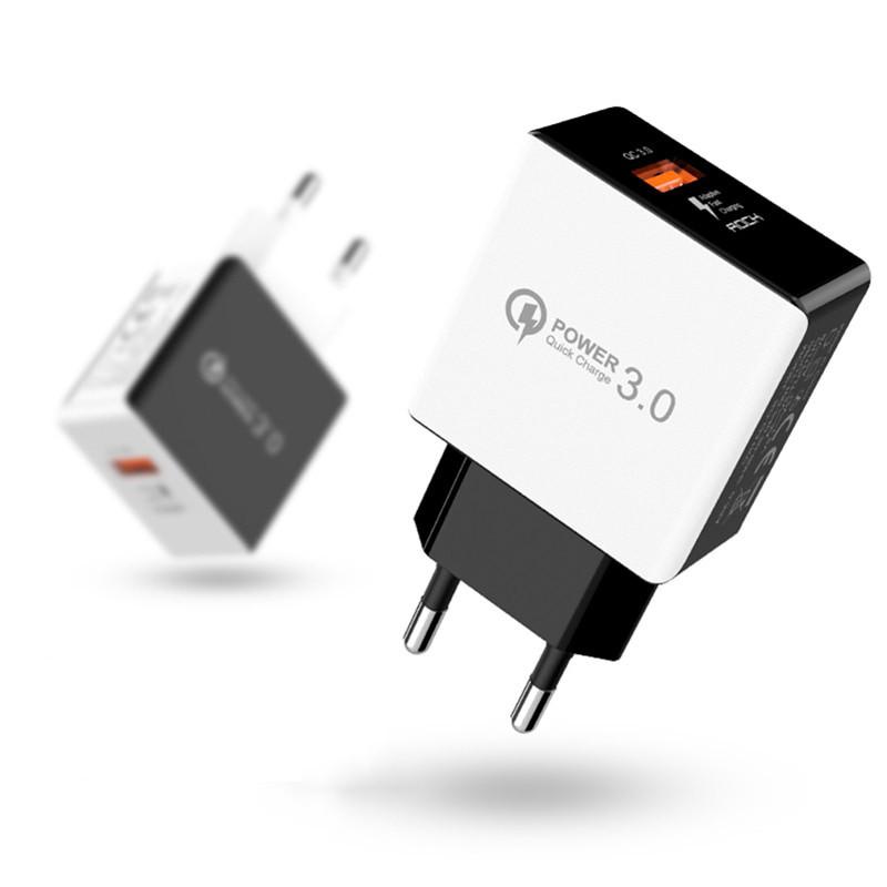 Универсальное сетевое зарядное устройство Rock QC3.0 Qualcomm Quick Charge 18W (Белое)