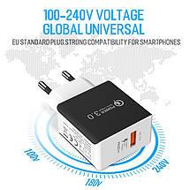 Универсальное сетевое зарядное устройство Rock QC3.0 Qualcomm Quick Charge 18W (Белое), фото 3