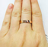 Тоненьке обручку срібне кільце з золотою пластиною, фото 5