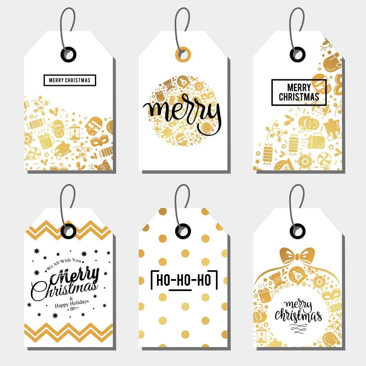 Открытки для подарков Новогодние  Золото 6 штук
