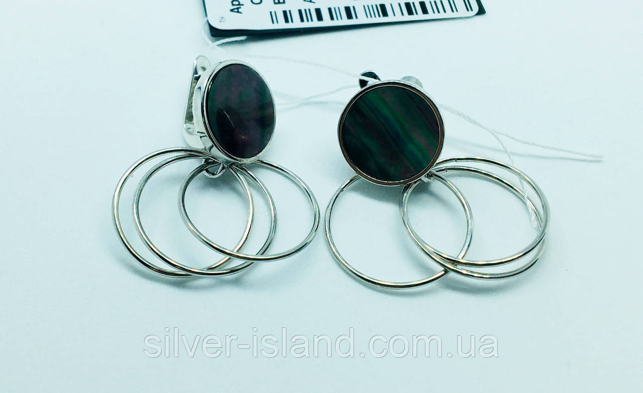Серебряные серьги с перламутром Космик