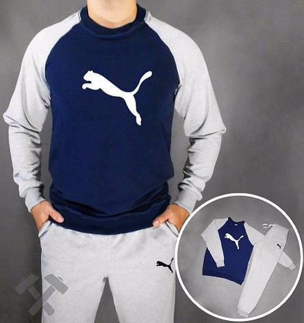 Чоловічий спортивний костюм Puma, Пума, синьо-сірий (стилі), фото 2