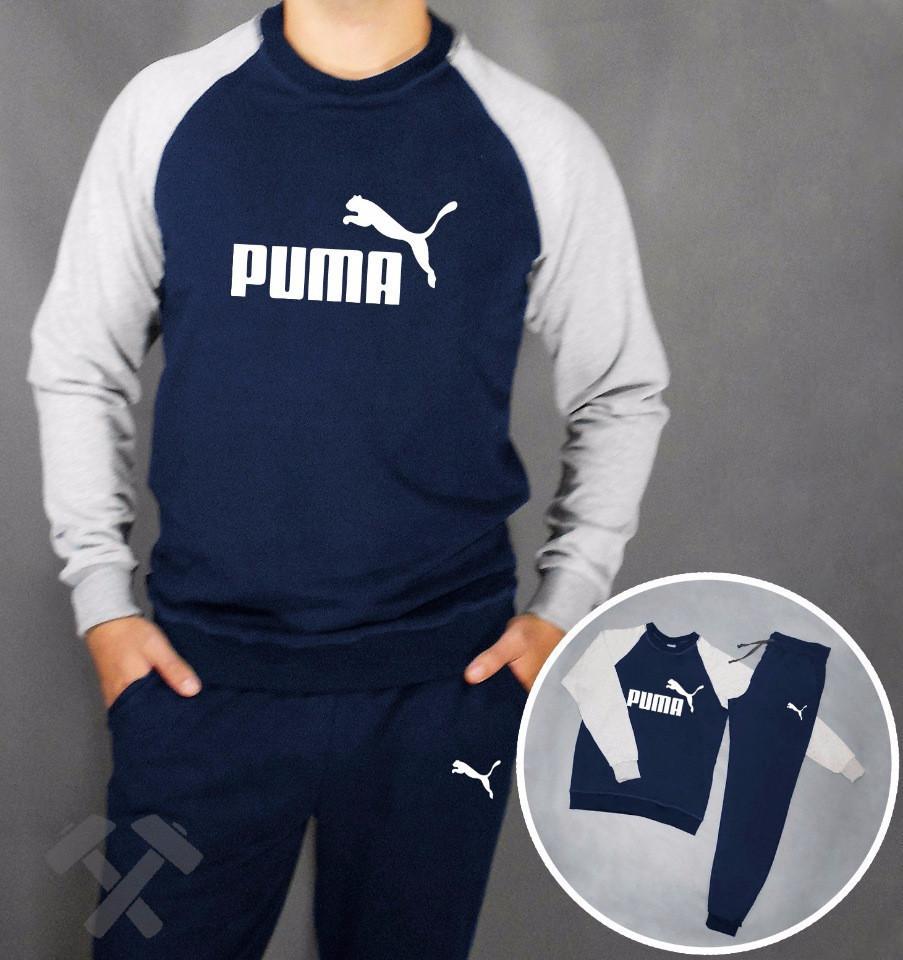 Мужской спортивный костюм Puma, Пума, сине-серый (в стиле)