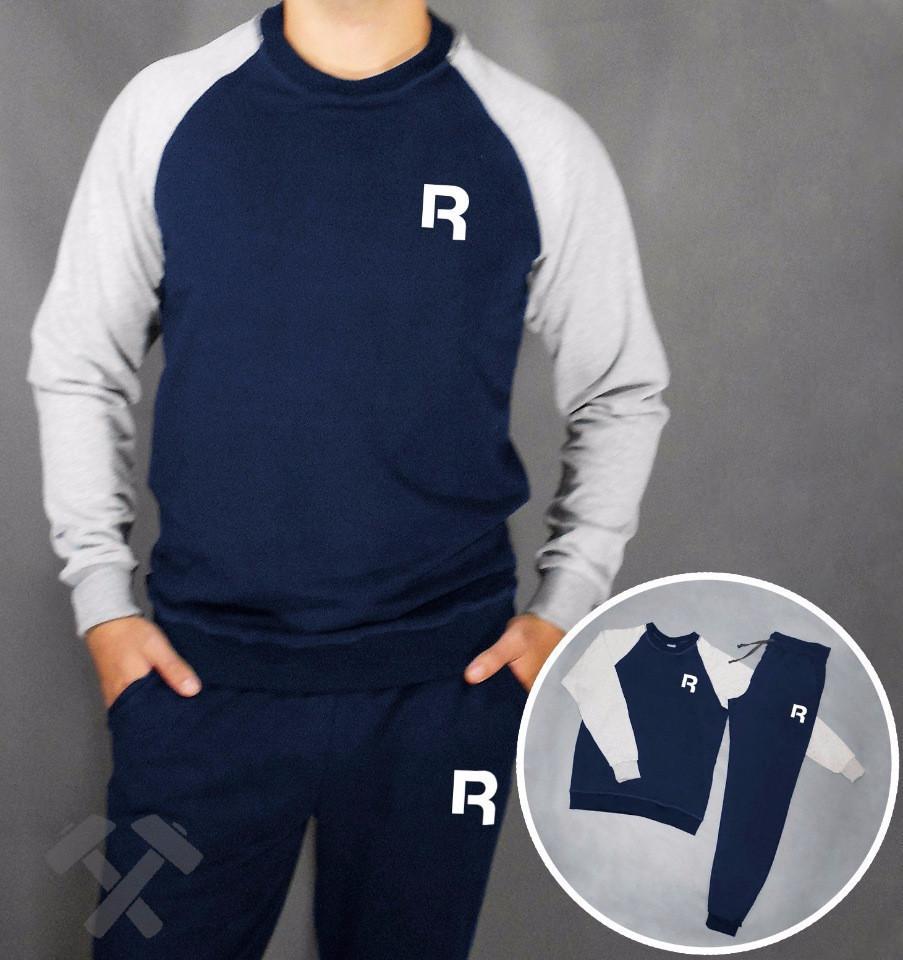 Мужской спортивный костюм Reebok, Рибок, сине-серый (в стиле)