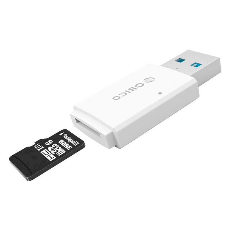 Кардридер USB 3.0 Micro SD Orico CRS11-WH c поддержкой OTG и карт до 128 Гб (Белый)