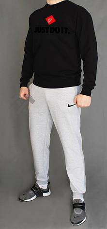 Чоловічий спортивний костюм Nike, Найк, чорно-сірий, чорний верх, сірий низ, комбінований (у стилі), фото 2