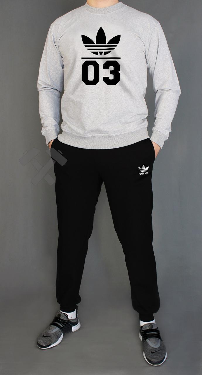 Чоловічий спортивний костюм Adidas, Адідас, сірий верх, чорний низ (у стилі)