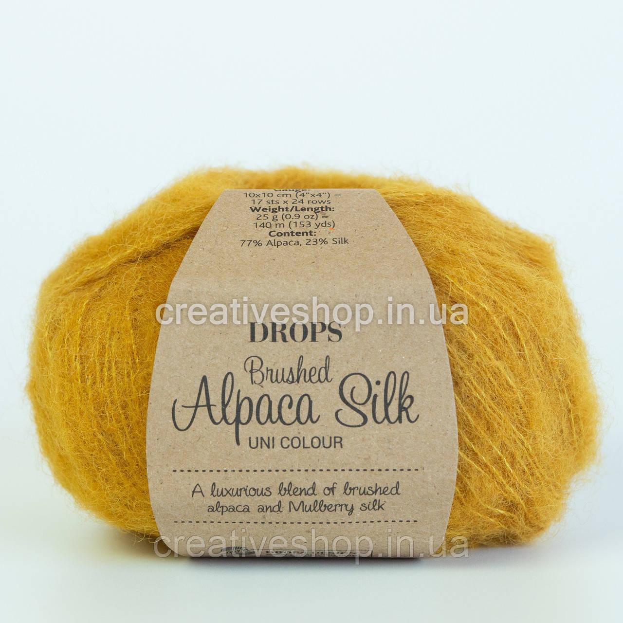 Пряжа Drops Brushed Alpaca Silk (колір 19 curry)