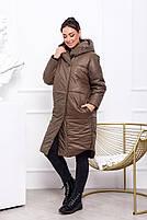 Жіноча тепла куртка на синтепоні з капюшоном (Батал), фото 3