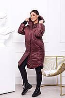 Жіноча тепла куртка на синтепоні з капюшоном (Батал), фото 4