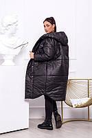 Жіноча тепла куртка на синтепоні з капюшоном (Батал), фото 9