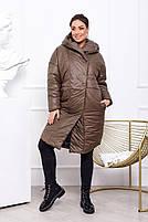 Жіноча тепла куртка на синтепоні з капюшоном (Батал), фото 6