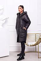 Жіноча тепла куртка на синтепоні з капюшоном (Батал), фото 10