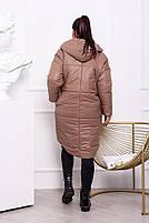 Жіноча тепла куртка на синтепоні з капюшоном (Батал), фото 8