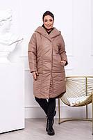 Жіноча тепла куртка на синтепоні з капюшоном (Батал), фото 7