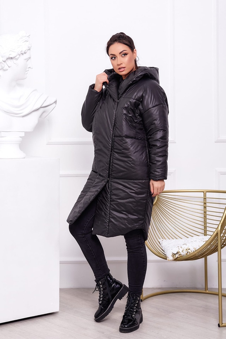 Жіноча тепла куртка на синтепоні з капюшоном (Батал)
