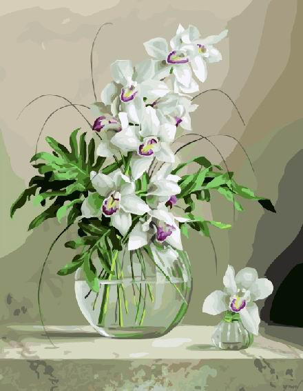 "Картина по номерам. Brushme "" Орхидеи в вазе "" GX21177"