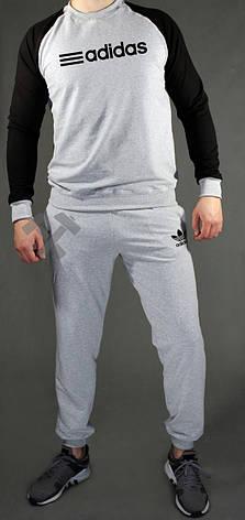 Чоловічий спортивний костюм Adidas, Адідас, сіро-чорний (стилі), фото 2