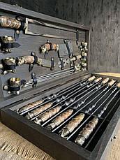 """Подарочный набор шампуров и аксессуаров для мангала """"Хозяин огня-VIP"""" в буковом кейсе. Дорогой подарок мужчине, фото 2"""