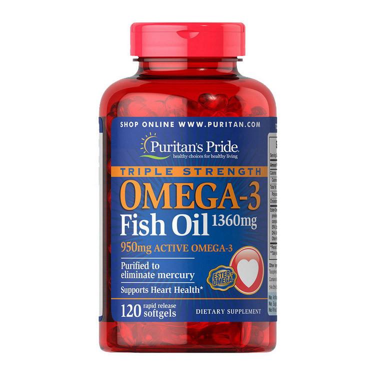 Омега 3 Puritan's Pride Triple Strength Omega-3 Fish Oil 1360 mg (120 капс) рыбий жир пуританс прайд