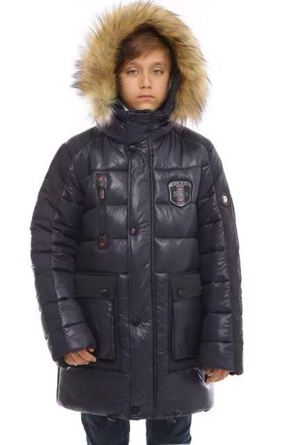 Зимняя подростковая куртка синяя 158