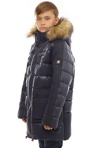 Зимняя подростковая куртка синяя 158, фото 2